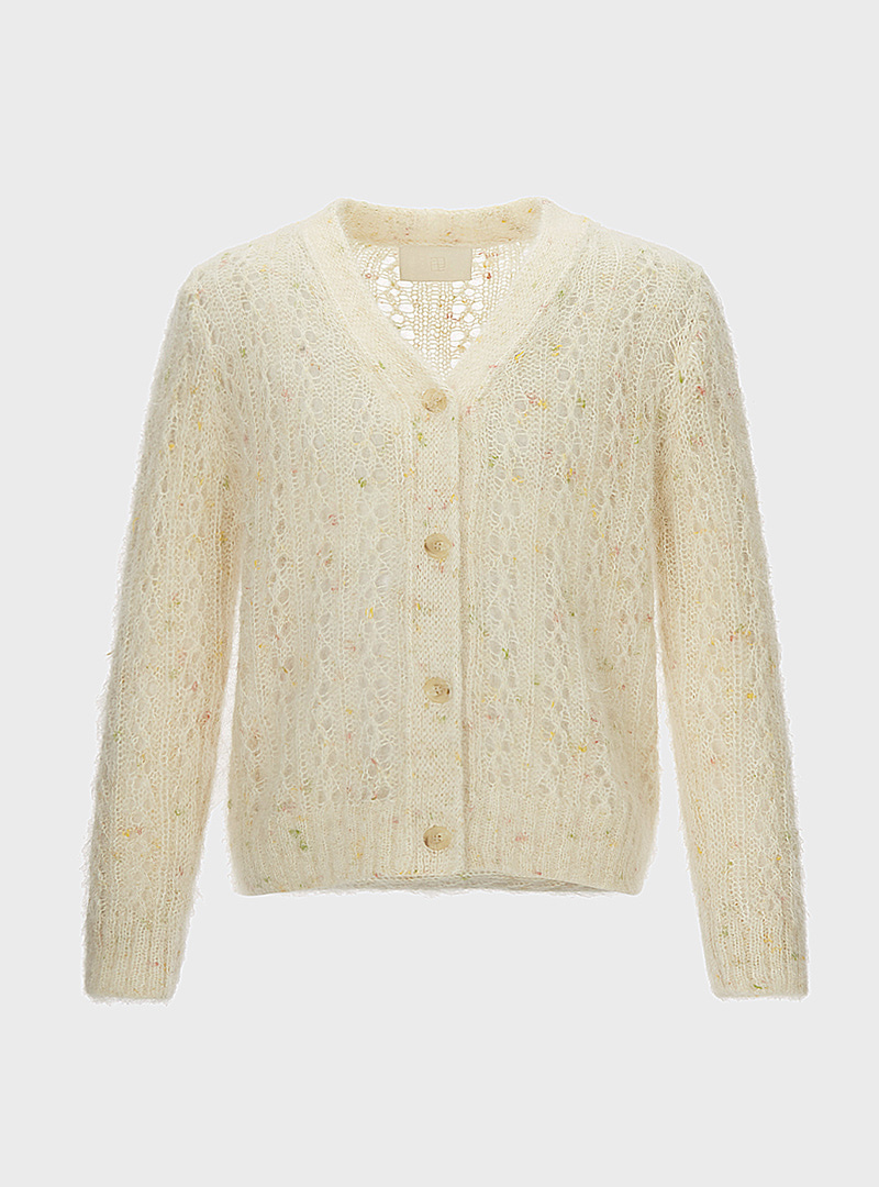 Stained Kid Mohair Cardigan Ivory