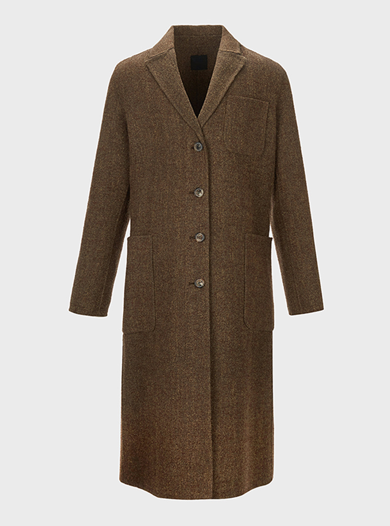 Herringbone Virginwool Coat Brown